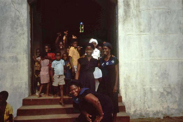 Mourners at a church funeral. All photos in this gallery were taken in Maryland County, Liberia in 1983, unless otherwise noted.