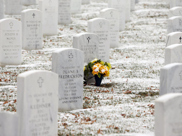 Fort Logan National Cemetery in Sheridan, Colo., gets a fresh dusting of snow on Veterans Day.