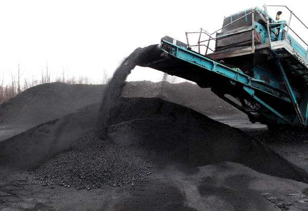A coal separator sorts and piles up coal at a Southern Coal Corp., mountaintop removal mine near Beckley, W.Va.