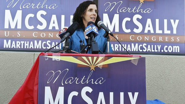 The Republican candidate for Arizona's 2nd Congressional District, Martha McSally, speaks at a news conference on Nov. 5, the morning after the election. McSally's race against Democrat Ron Barber is so close it triggered a recount.