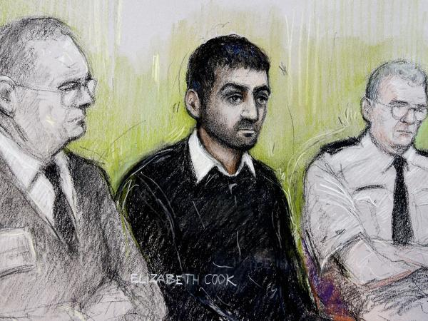 Erol Incedal, seen in this court artist's sketch, appears at the Old Bailey in London. The court found him guilty last week of possessing a bomb-making document.