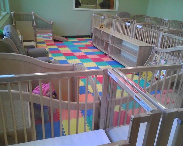 The main room of the daycare center for student parents at the Benjamin Franklin High School can accommodate 24 babies and toddlers.