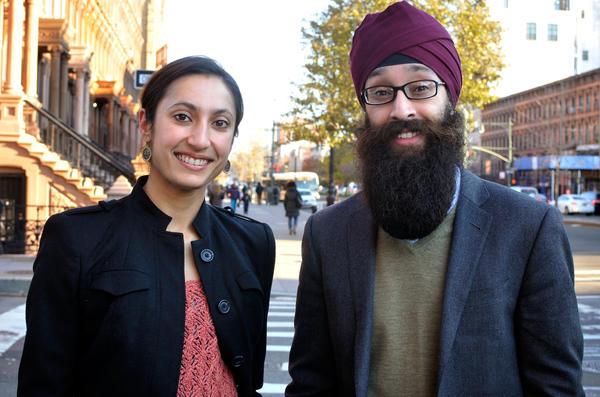 Manmeet Kaur and Prabhjot Singh in their neighborhood in Harlem.