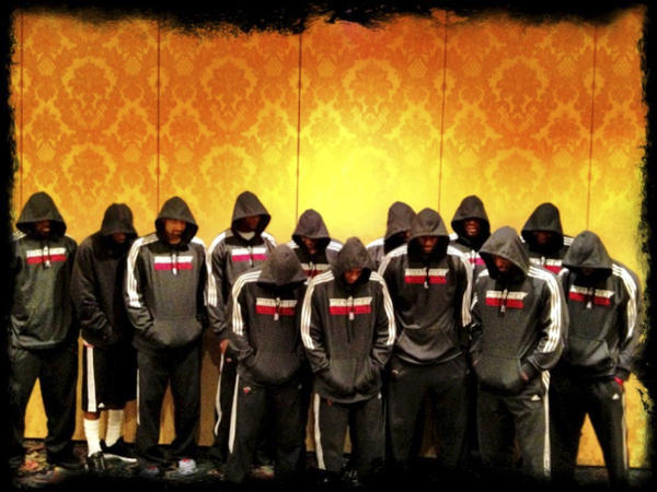 In this image posted to Miami Heat basketball player LeBron James' Twitter page, Miami Heat players wear team hoodies.
