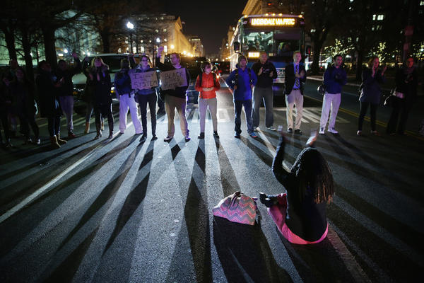 Demonstrators block traffic during a protest in Washington, D.C.