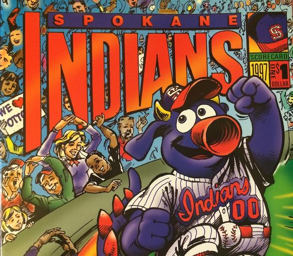 Spokane Indians program, 1997. When the Spokane Indians adopted a mascot in 1993, they intentionally avoided referencing Native American culture. What they came up with was Otto the Spokanasaurus.