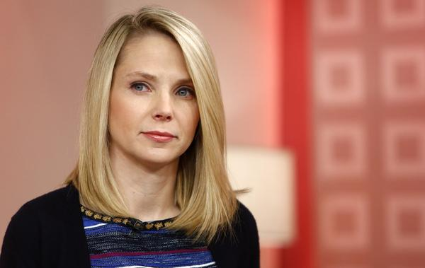 "This image released by NBC shows Yahoo CEO Marissa Mayer appearing on NBC News' ""Today"" show, Wednesday, Feb. 20, 2013 in New York to introduce the website's redesign. (Peter Kramer/NBC via AP)"