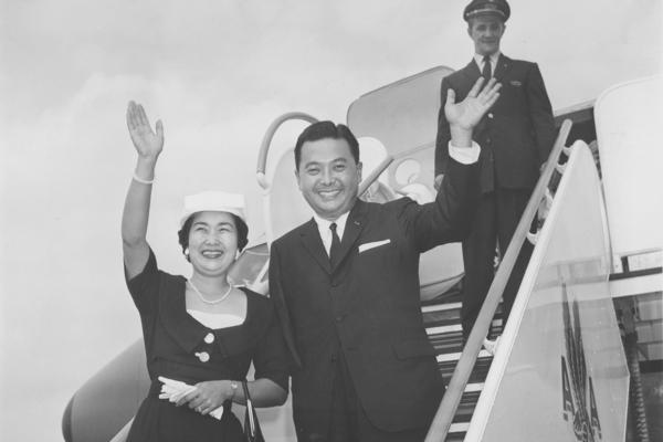 U.S. Rep.-elect Daniel Inouye of Hawaii and his wife, Margaret, arrive in Washington, D.C., Aug. 9, 1959. Inouye, a World War II hero who lost one arm in the war, was the the first Japanese-American to serve in Congress. Inouye died in 2012.
