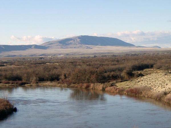 Rattlesnake Mountain as seen from the Horn Rapids area near Richland, Washington.