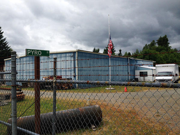 The flag at the entrance to Entertainment Fireworks in Tenino, Washington is at half-staff following the death of seasonal worker Bill Hill.