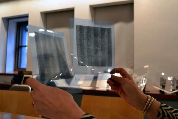 Two beta-radiographs of prints on handmade paper at the Morgan Library and Museum. A computer program developed by a Cornell University professor is helping to find patterns in the paper's makeup.