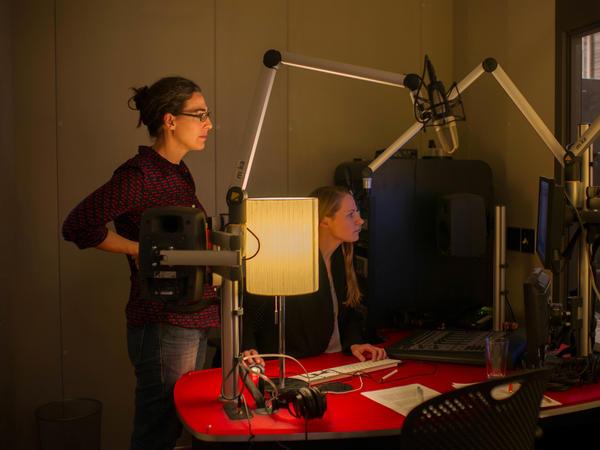 Serial producers Sarah Koenig (left) and Dana Chivvis in the recording studio.