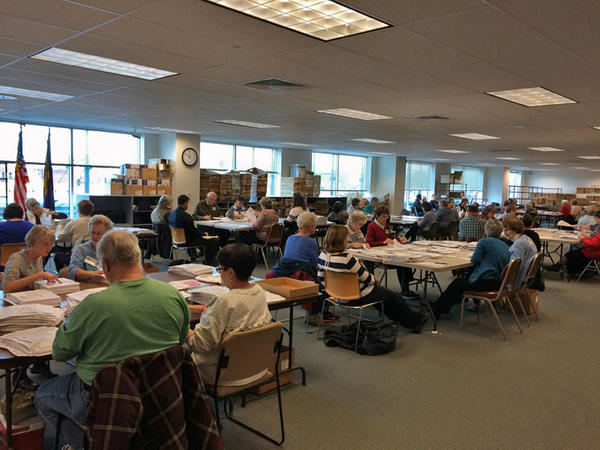 File photo of Elections workers in Salem hand-counting Marion County ballots.