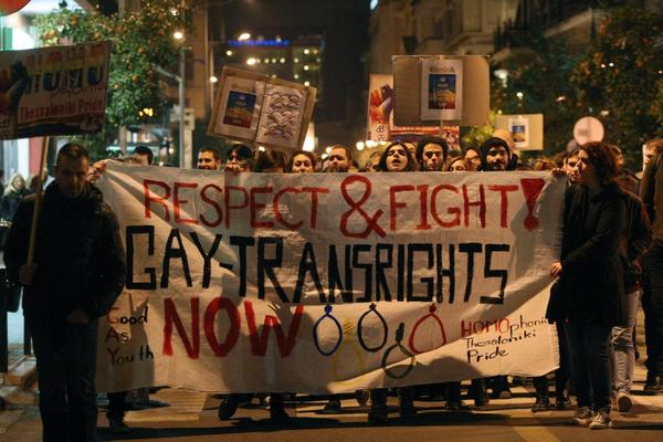 Demonstrators march during a protest against a controversial anti-gay and blasphemy laws signed by the Russian president outside of the Russian Consulate in Thessaloniki on February 7, 2014. (Sakis Mitrolidis/AFP/Getty Images)