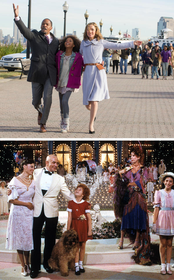 """Top: Jamie Foxx, Quvenzhane Wallis and Rose Byrne sing """"I Don't Need Anything But You"""" in the new <em>Annie.</em> Bottom: Albert Finney, Aileen Quinn, Carol Burnett and others in the 1982 version."""