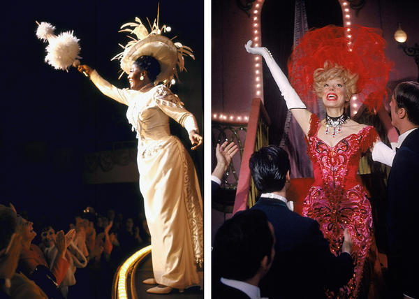 Left: Actress Pearl Bailey in the Broadway production of <em>Hello, Dolly! </em>in 1967. Right: Actress Carol Channing in the role in 1964.