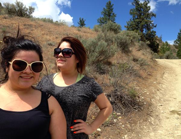 Hikers Kimberly Carrillo and her friend Lily Esuivel near Wenatchee. Agencies in the area are trying to get more people hiking on nearby trails.