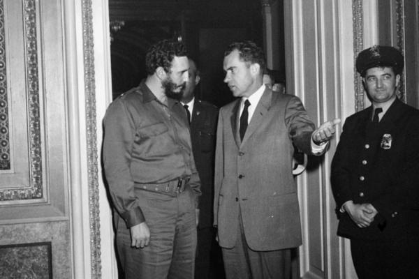 "Fidel Castro and Vice President Richard Nixon after a nearly 2 1/2-hour meeting in Washington on April 19, 1959. Castro described the meeting, scheduled for 15 minutes, as ""very friendly."" Less than two years later, the U.S. severed ties with Cuba."