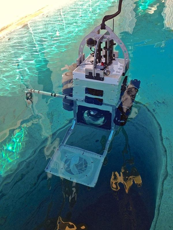 Testing the camera system of the Leggo, a deep sea research probe, prior to the expedition. Sensors and equipment can be easily added or removed from the probe, like interchangeable blocks.<em> </em>