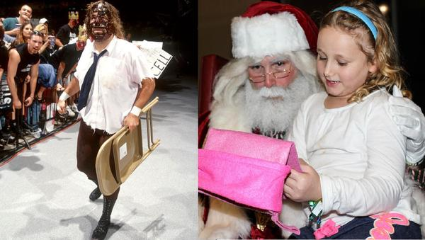 Mick Foley as Mankind in 1999, and as Santa Claus in 2014. (Courtesy of the WWE/Sean Hurley for NHPR)