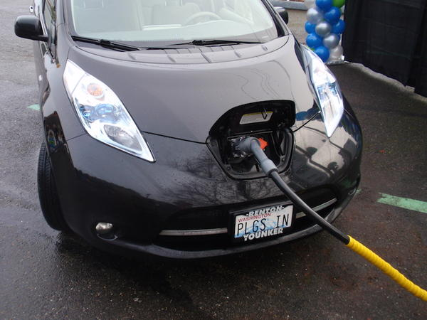 File photo of a Nissan Leaf recharging in Tumwater, Washington.