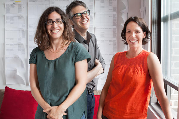 Koenig (left) is an executive producer and host of Serial. It's a spinoff of <em>This American Life</em>, hosted by Ira Glass (center). Julie Snyder is an executive producer of Serial and senior producer at<em> This American Life.</em>
