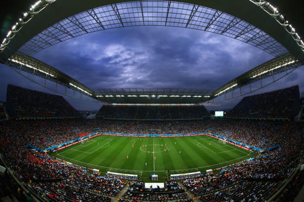 A general view of the stadium during the 2014 FIFA World Cup Brazil Semi Final match between the Netherlands and Argentina at Arena de Sao Paulo on July 9, 2014 in Sao Paulo, Brazil.  (Julian Finney/Getty Images)
