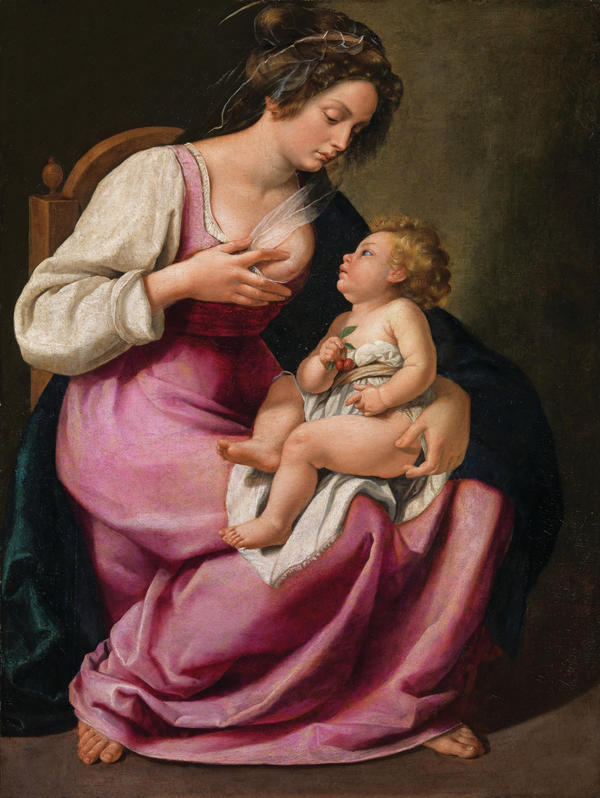Female artists portrayed Mary in a very different light — above, Artemisia Gentileschi's 1609 oil on canvas,<em> Madonna and Child.</em>