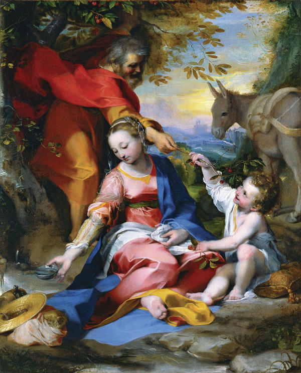 Federico Barocci's 1570 <em>Rest on the Flight into Egypt</em> shows Mary catching water in a silver bowl as Joseph offers cherries to Jesus.