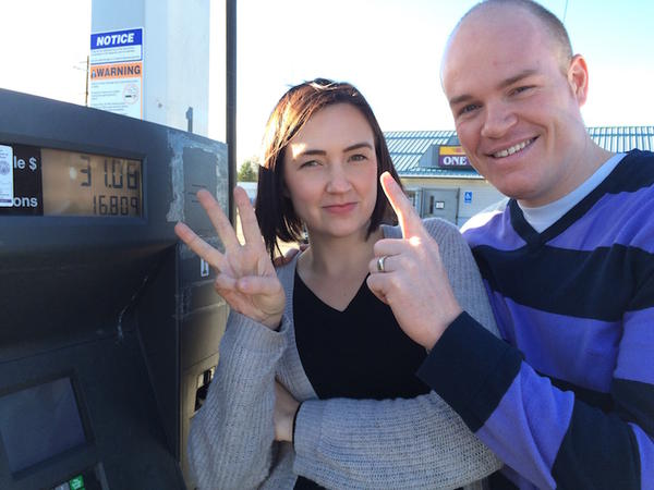 Bryan and Katelyn Foutch of Moscow, Idaho, celebrate their $31 gas bill.