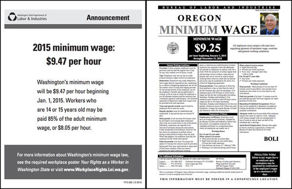 The minimum wage is going up by 15 cents an hourin both Washington and Oregon to $9.47 in Washington and $9.25 in Oregon.