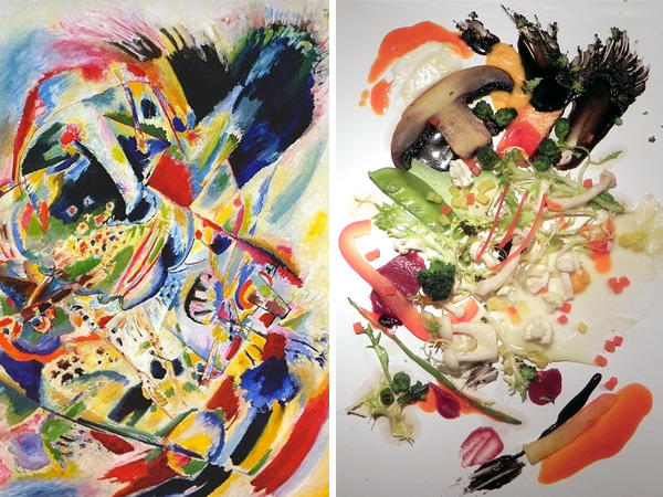 Kandinsky's <em>Painting No. 201</em>, on the left, was the inspiration for the salad on the right. Diners enjoyed their greens more when plated to resemble the work of art.
