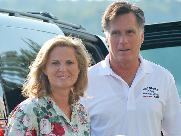 Mitt Romney, who this week is set to accept the Republican presidential nomination, with wife Ann on Sunday in Wolfeboro, N.H.