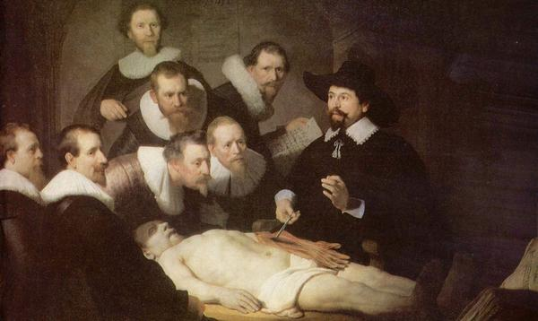 An autopsy helps medical students learn human anatomy in Rembrandt's painting <em>The Anatomy Lesson of Dr. Nicolaes Tulp</em> from 1632.