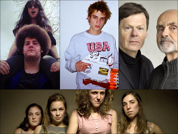 Clockwise from upper left: Yuck, Jackson Scott, Roedelius and Schneider, Chastity Belt.