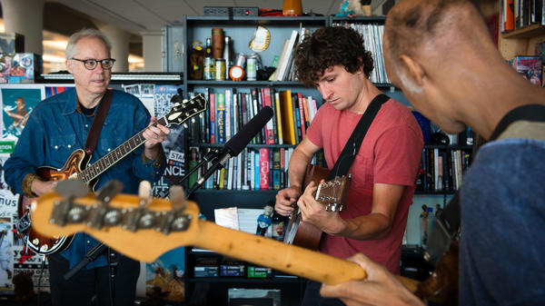 Bill Frisell (left), Sam Amidon and Shahzad Ismaily perform a Tiny Desk Concert on Oct. 16, 2014.