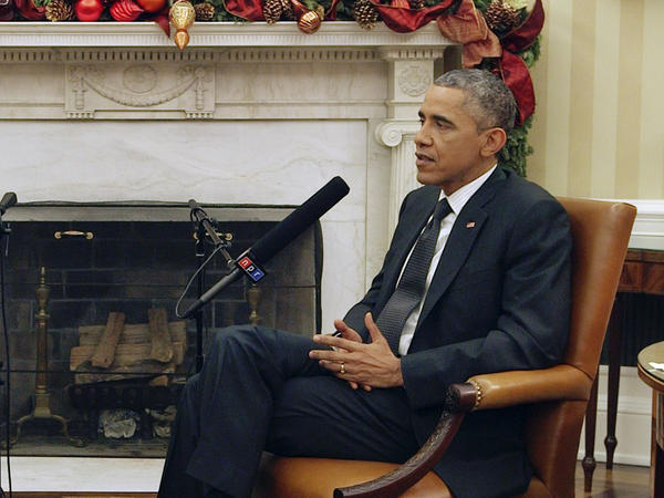 NPR's Morning Edition host Steve Inskeep interviews President Obama on Dec. 17 in the Oval Office, where they discussed U.S. involvement in the Middle East and the world as a whole.