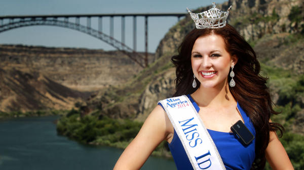 Miss Idaho, Sierra Sandison, shown here in her hometown of Twin Falls, Idaho, decided not to hide the insulin pump she wears to treat Type 1 diabetes during the pageant.