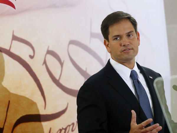 "Sen. Marco Rubio speaks at the Faith and Freedom Coalition's ""Road to Majority"" conference in 2013."