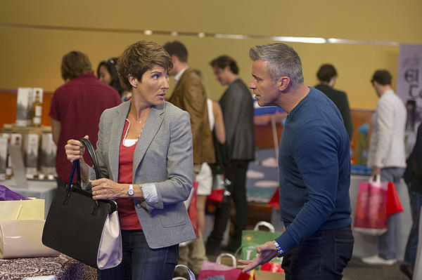 <em>Episodes </em>stars Tamsin Greig (left) as Beverly. She and her husband co-wrote a hit TV series in England, but were lured to America to adapt their show for U.S. audiences. The adaptation stars Matt LeBlanc (right).