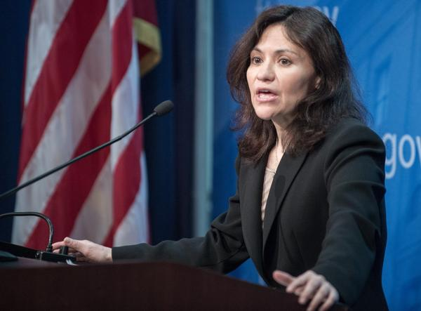 Federal Trade Commission (FTC) Chairwoman Edith Ramirez conducts a press conference January 15, 2014 at FTC headquarters in Washington, DC. (Paul J. Richards/AFP/Getty Images)