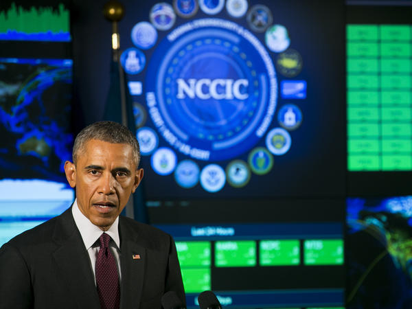 President Obama speaks Tuesday at the National Cybersecurity and Communications Integration Center in Arlington, Va.