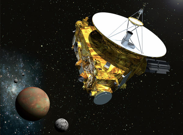 An artist's concept of the New Horizons spacecraft as it approaches Pluto and its three moons in summer 2015. The craft's miniature cameras, radio science experiment, ultraviolet and infrared spectrometers and space plasma experiments would characterize the global geology and geomorphology of Pluto and large moon Charon, map their surface compositions and temperatures, and examine Pluto's atmosphere in detail. The spacecraft's most prominent design feature is a nearly 7-foot (2.1-meter) dish antenna, through which it will communicate with Earth from as far as 4.7 billion miles (7.5 billion kilometers) away. (Johns Hopkins University Applied Physics Laboratory/Southwest Research Institute)