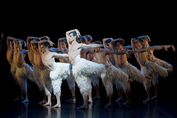 Jonathan Ollivier plays the Swan in choreographer Matthew Bourne's <em>Swan Lake</em><em>, </em>which<em> </em>replaces the traditional female corps de ballet with a male ensemble. Bourne premiered his take on the ballet in 1995.