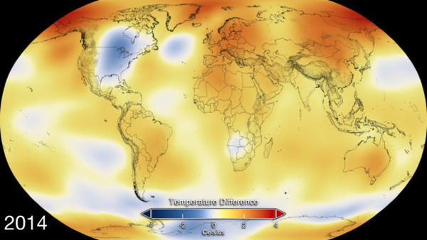 <p>2014 Global temperature anomaly map. Image Credit: NASA's Goddard Space Flight Center</p>