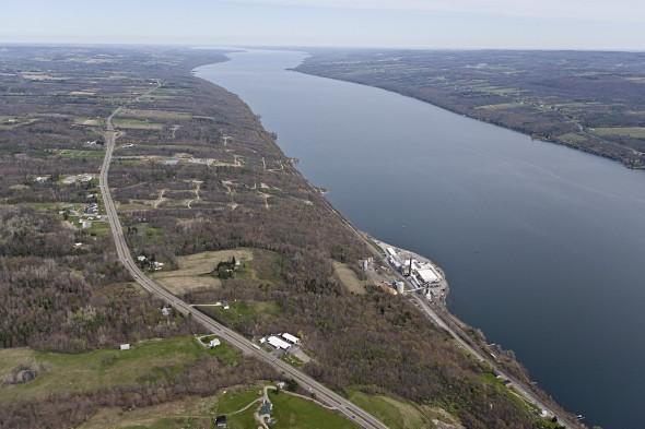 The southwestern shore of Seneca Lake and the U.S. Salt plant.