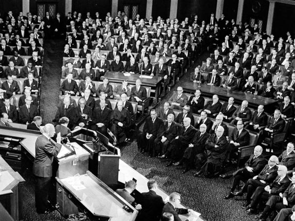 "During his 1965 State of the Union address, President Lyndon Johnson said, ""This, then, is the state of the union: free and restless, growing and full of hope."""