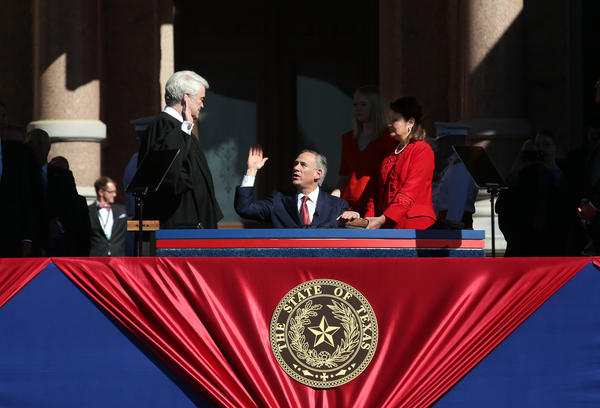 New Texas Governor Greg Abbott is sworn in at today's inaugural ceremony.