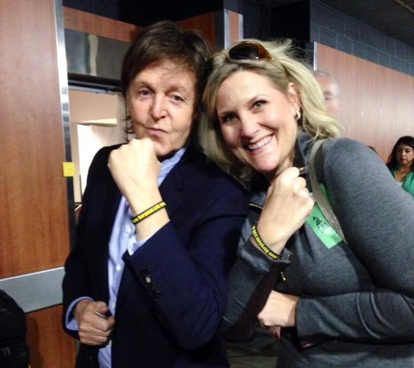 Former Beatle Paul McCartney and American Soldier Network founder Annie Nelson wear Bowe Bergdahl bracelets at a dress rehearsal for the Grammy Awards.