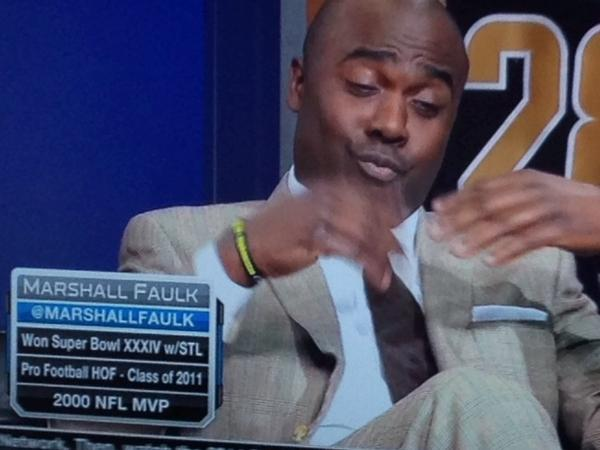 Former NFL player and sportscaster Marshall Faulk wears a Bowe Bergdahl bracelet on the NFL Network.